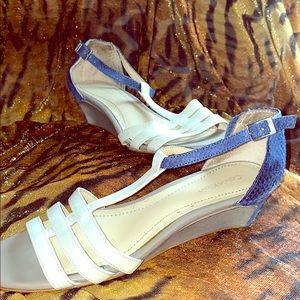 Calvin Klein White w/Cobalt Blue Snake Skin Sandal